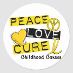 PEACE LOVE CURE CHILDHOOD CANCER ROUND STICKER