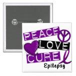 PEACE LOVE CURE EPILEPSY 15 CM SQUARE BADGE