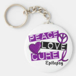 PEACE LOVE CURE EPILEPSY BASIC ROUND BUTTON KEY RING