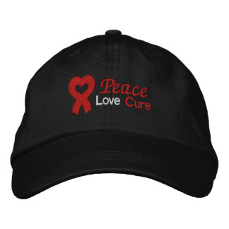Peace Love Cure Heart Disease Embroidered Hats