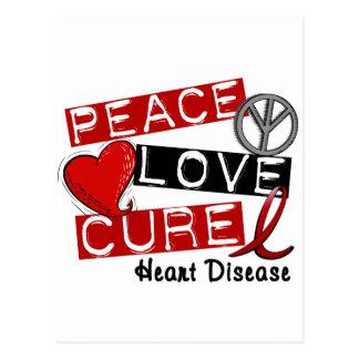 PEACE LOVE CURE HEART DISEASE POSTCARD