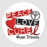 PEACE LOVE CURE HEART DISEASE ROUND STICKERS