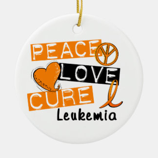 Peace Love Cure Leukemia Round Ceramic Decoration