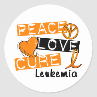 Peace Love Cure Leukemia Round Stickers