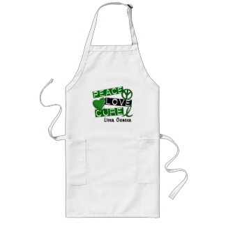 PEACE LOVE CURE Liver Cancer (Emerald Ribbon) Aprons