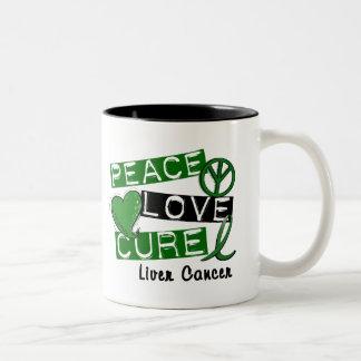 PEACE LOVE CURE Liver Cancer (Emerald Ribbon) Coffee Mug