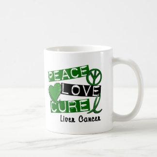 PEACE LOVE CURE Liver Cancer (Emerald Ribbon) Mugs