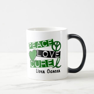 PEACE LOVE CURE Liver Cancer (Emerald Ribbon) Coffee Mugs