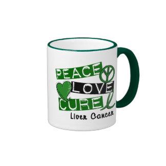 PEACE LOVE CURE Liver Cancer (Emerald Ribbon) Mug