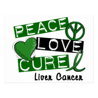 PEACE LOVE CURE Liver Cancer (Emerald Ribbon) Post Cards