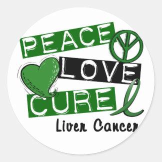 PEACE LOVE CURE Liver Cancer (Emerald Ribbon) Round Sticker