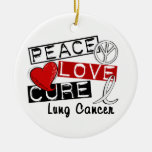 Peace Love Cure Lung Cancer Christmas Tree Ornaments