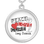 Peace Love Cure Lung Cancer Round Pendant Necklace