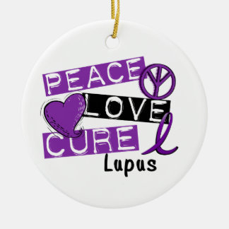 Peace Love Cure Lupus Round Ceramic Decoration