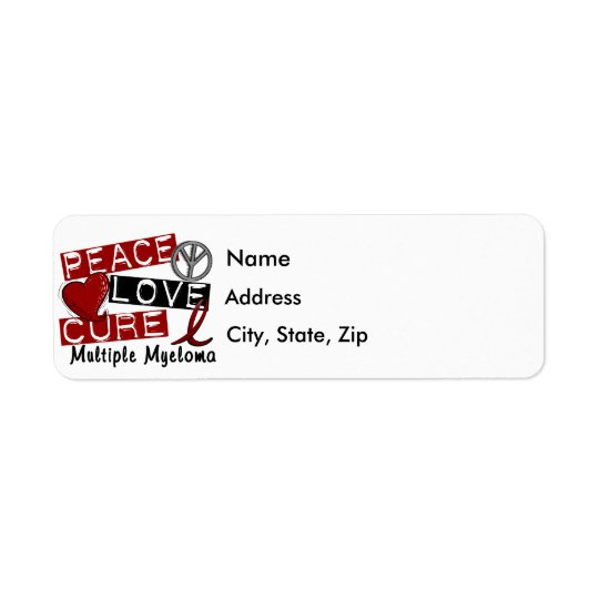 Peace Love Cure Multiple Myeloma Return Address Label