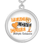 Peace Love Cure Multiple Sclerosis MS Personalised Necklace