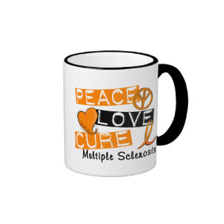 Peace Love Cure Multiple Sclerosis MS Ringer Mug