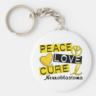 Peace Love Cure Neuroblastoma Basic Round Button Key Ring