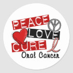 Peace Love Cure Oral Cancer Round Sticker