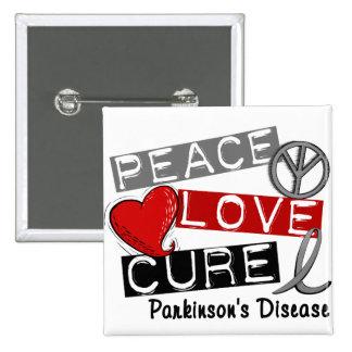 PEACE LOVE CURE PARKINSONS DISEASE 15 CM SQUARE BADGE