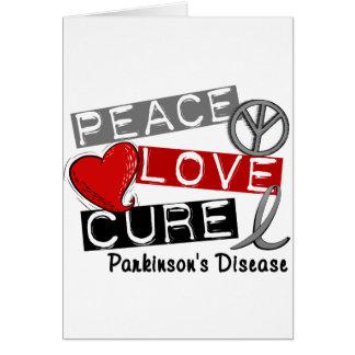PEACE LOVE CURE PARKINSONS DISEASE CARD