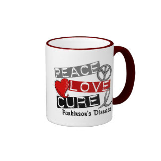 PEACE LOVE CURE PARKINSONS DISEASE COFFEE MUGS