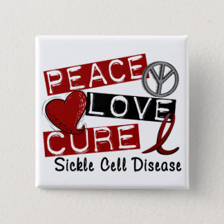 Peace Love Cure Sickle Cell Disease 15 Cm Square Badge