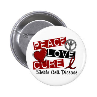 Peace Love Cure Sickle Cell Disease 6 Cm Round Badge