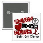 Peace Love Cure Sickle Cell Disease 15 Cm Square Badge