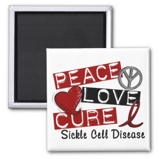 Peace Love Cure Sickle Cell Disease Magnet