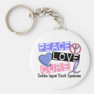 Peace Love Cure SIDS Sudden Infant Death Syndrome Basic Round Button Key Ring
