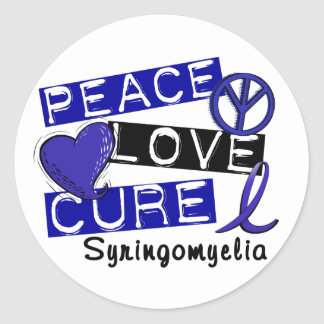 Peace Love Cure Syringomyelia Round Sticker