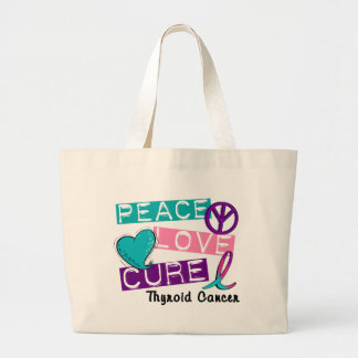 PEACE LOVE CURE Thyroid Cancer 1 Jumbo Tote Bag