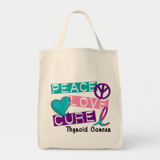 PEACE LOVE CURE Thyroid Cancer 1 Tote Bag