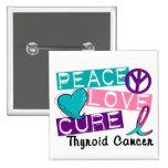 Peace Love Cure Thyroid Cancer Button