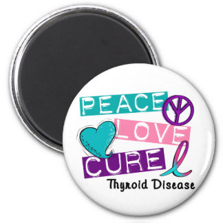 PEACE LOVE CURE Thyroid Disease Shirts & Gifts Fridge Magnets