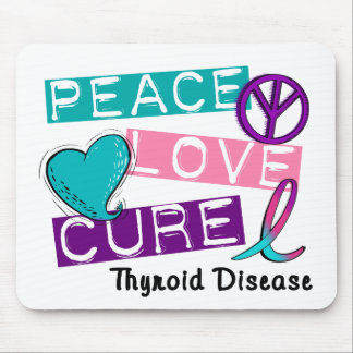 PEACE LOVE CURE Thyroid Disease Shirts Gifts Mouse Mat