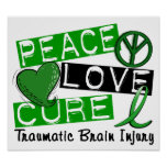Peace Love Cure Traumatic Brain Injury TBI Poster