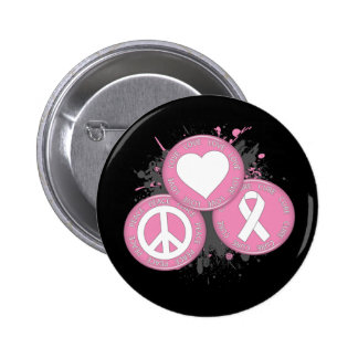 Peace Love Cure Tri-Buttons - Breast Cancer