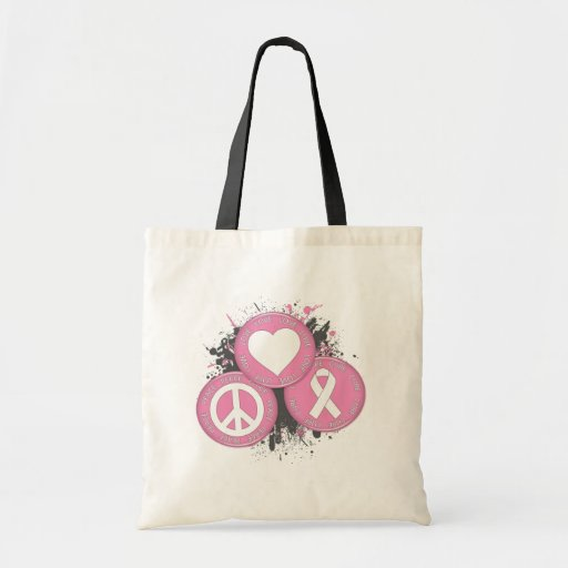 Peace Love Cure Tri-Buttons - Breast Cancer Canvas Bags