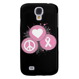 Peace Love Cure Tri-Buttons - Breast Cancer Samsung Galaxy S4 Cases