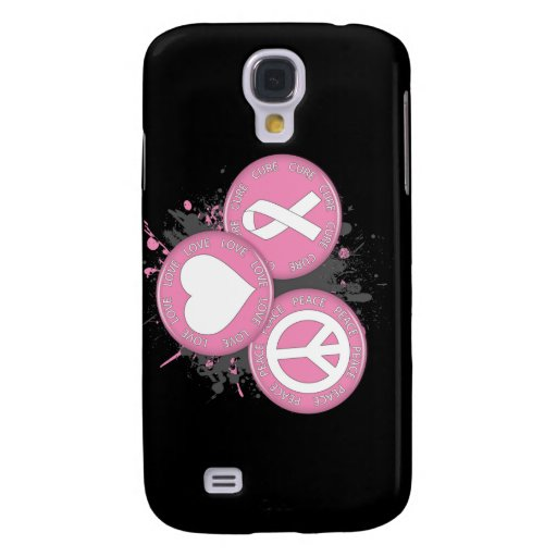 Peace Love Cure Tri-Buttons - Breast Cancer Galaxy S4 Case