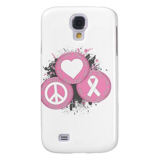 Peace Love Cure Tri-Buttons - Breast Cancer Samsung Galaxy S4 Covers