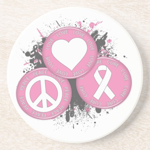 Peace Love Cure Tri-Buttons - Breast Cancer Coaster
