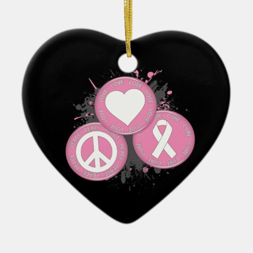 Peace Love Cure Tri-Buttons - Breast Cancer Ornaments