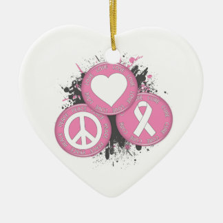 Peace Love Cure Tri-Buttons - Breast Cancer Double-Sided Heart Ceramic Christmas Ornament