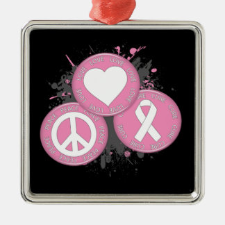 Peace Love Cure Tri-Buttons - Breast Cancer Christmas Tree Ornaments