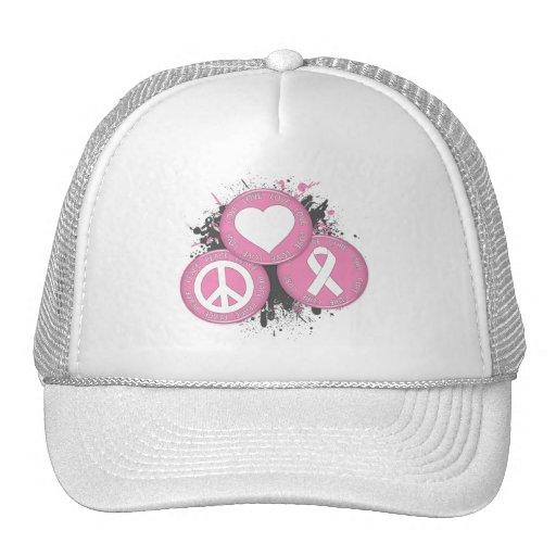 Peace Love Cure Tri-Buttons - Breast Cancer Trucker Hats