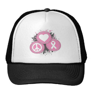 Peace Love Cure Tri-Buttons - Breast Cancer Mesh Hats