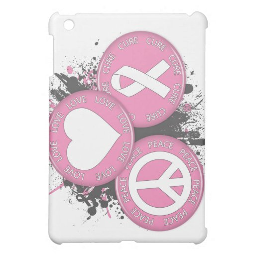 Peace Love Cure Tri-Buttons - Breast Cancer iPad Mini Case